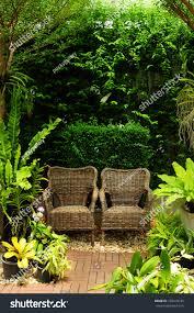 Chair In Garden Couple Chair Garden Background Stock Photo 103418126 Shutterstock
