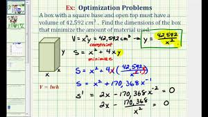 How Do You Figure Square Footage Of A House by Ex Optimization Minimize The Surface Area Of A Box With A Given