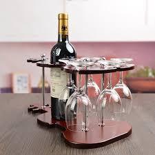 wooden violin wine bottle stand and goblet glass hanging rack