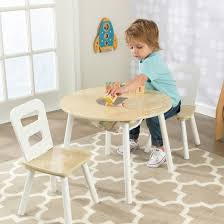 White Kids Table And Chair Set - round table and chair white natural set of 2 kidkraft target