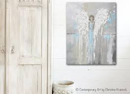 Spiritual Home Decor Art Abstract Angel Painting Canvas Print Modern Wall Art Blue Grey
