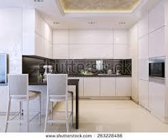 black white villa interior open kitchen stock photo 583363483