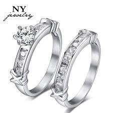 wedding diamond women wedding rings stainless steel cz diamond rings set for women