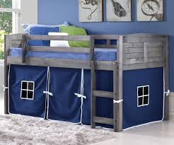 Donco Bunk Bed Louver Low Loft Bed With Blue Tent Antique Grey 790aag B Donco
