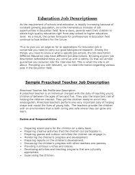 Model Resume For Teaching Job by Teacher Job Description Resume Free Resume Example And Writing