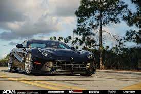 Ferrari F12 Black - black ferrari f12 berlinetta on brushed adv 1 wheels front side