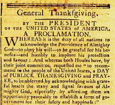 november 26 1789 national thanksgiving aaron