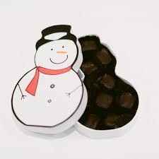 snowman dark chocolate covered marshmallows gift box