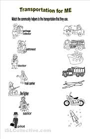 will identify the transportation used by community helpers