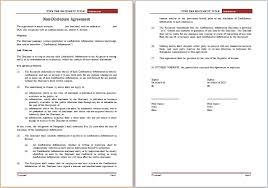 editable non disclosure agreement template word document templates
