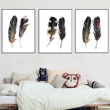 Bird Decorations For Home Feather Canvas Promotion Shop For Promotional Feather Canvas On