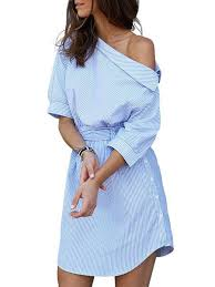 light blue casual one shoulder cotton blend stripes casual dress