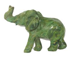 green serpentine elephant sculpture in stone 12 cm collectible