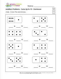 addition problems worksheets kindergarten addition dominoes