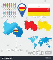 south ossetia map republic south ossetia flag world map stock vector 152650352