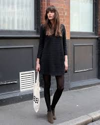 black dress black tights ankle boots fall style celebrity