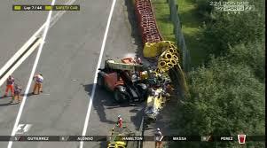 kevin magnusson crash renault driver limps away after spinning