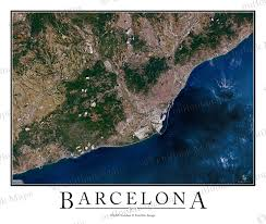 Map Of Barcelona Barcelona Spain Satellite Map Print Aerial Image Poster