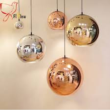 Colored Glass Pendant Lights Dia 25 40cm Modern Electroplate Glass Pendant L Copper Silver
