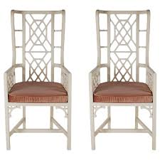 Asian Patio Furniture by Matching Pair Of Asian Modern Chippendale Style Wingback Chairs At