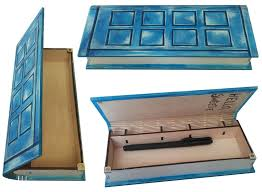 box wooden blue penal home decor hand paint