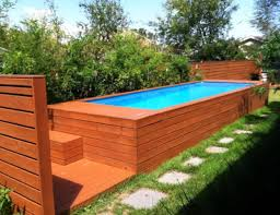 wood surround for semi inground pool pool idea magnificent