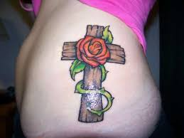 cross and rose tattoo ideas for girls tattoomagz
