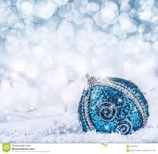 blue balls and silver ribbon snow and space