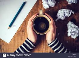 Top Of Coffee Cup Female Writer Drinking Cup Of Coffee Top View Of Female Hands