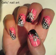 gelic u0027 nail art halloween white spider nail art in pink and black