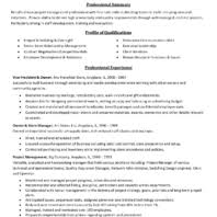 Qualification Profile Resume Professional Experience Profile Of Qualification Entry Level
