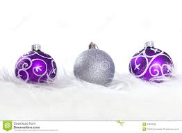 purple and silver baubles stock photo image 63049238