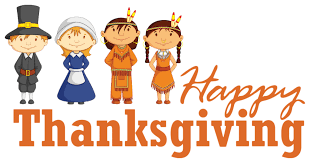 transparent happy thanksgiving with pilgrim and americans