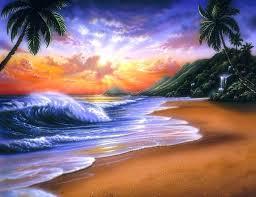 sunrise trees seasons four sea summer clouds palm seaside