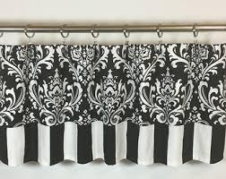 Black And White Damask Curtain Damask Valances Etsy