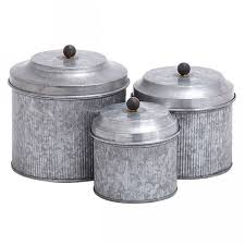 set 3 galvanized canisters rustic pinterest 20