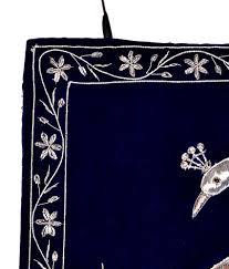 nonch le blue velvet fabric silver zardozi work home decorative