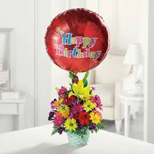 flowers and balloons happy birthday basket in park il flowers and balloons by