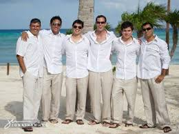 groomsmen attire lightweight shirts linen slacks and sandals for a wedding