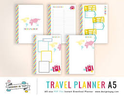 trip planner templates travel planner a5 pdf stationery templates creative market
