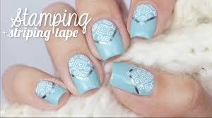 stamping striping tape nail art using cici u0026sisi