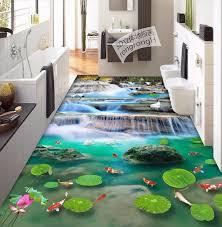 free shipping lotus flower carp cranes 3d floor tiles wear non