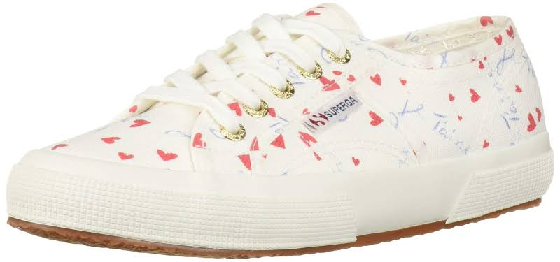 Superga 2750 Printedcotw Hearts Multi Ankle-High Canvas Sneaker 7M / 5.5M