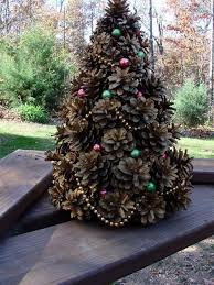 mini tree made from pine cones craft projects for
