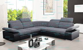 grand canapé d angle en tissu canapé d angle symétrique en tissu gris et simili noir rabelais