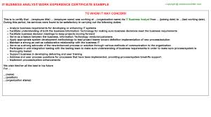 It Business Analyst Job Description Resume It Business Analyst Work Experience Certificate