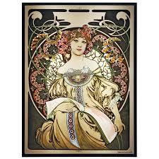 reverie by alphonse mucha art deco color art glass panel 12 inches