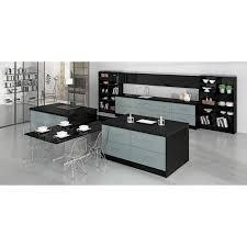 cuisine bleu pastel cuisine contemporain avec ilot en t avec espace repas et rangements