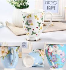 Decorating Porcelain Mugs Royal Albert Style Country Flower Fine Bone China Mugs Wholesale