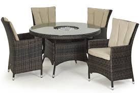 maze rattan la 4 seat round dining set with a luxury 120cm inset